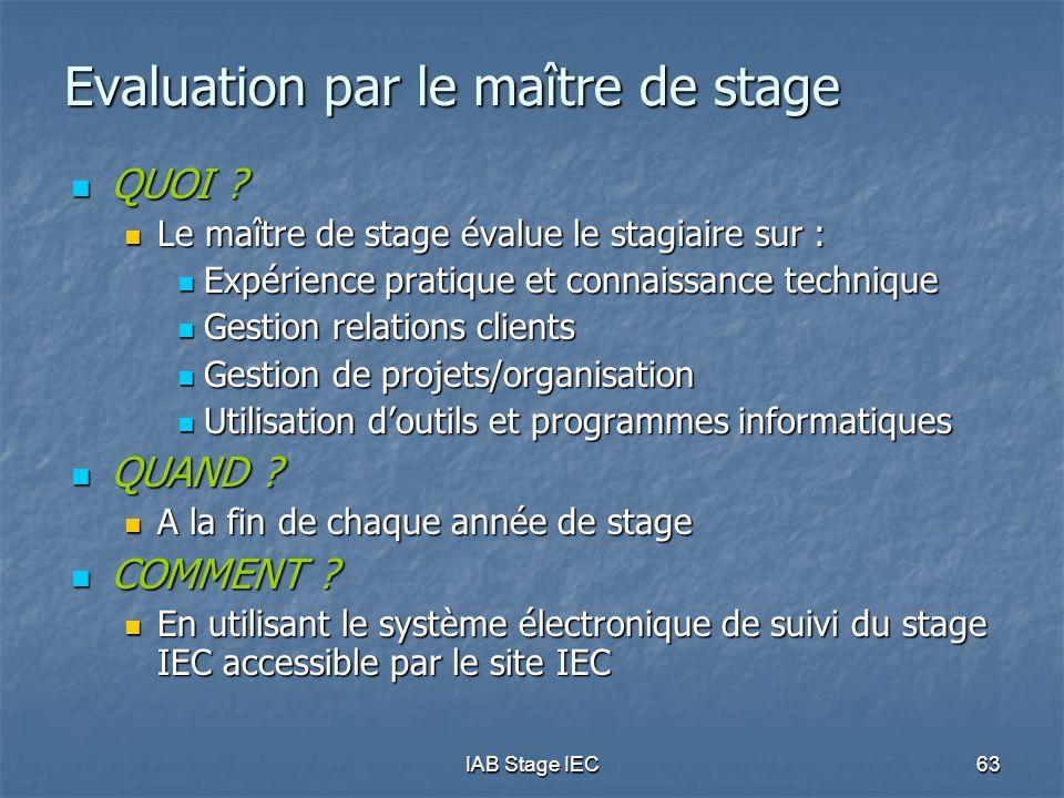 IAB Stage IEC63 Evaluation par le maître de stage QUOI .