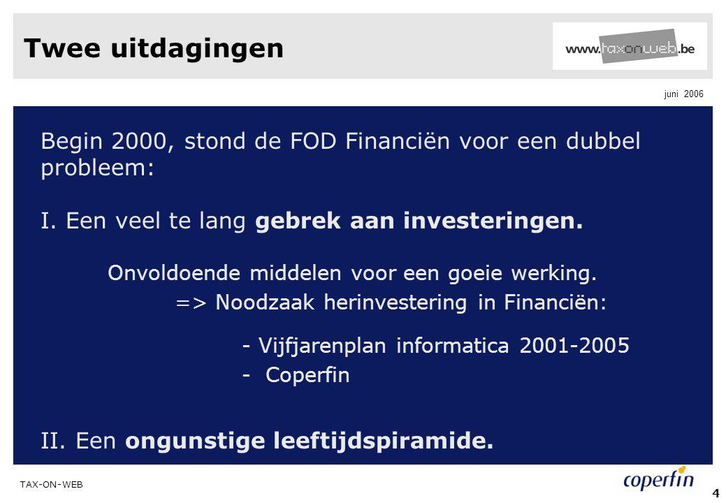 TAX-ON-WEB juni 2006 4 Twee uitdagingen Begin 2000, stond de FOD Financiën voor een dubbel probleem: I. Een veel te lang gebrek aan investeringen. Onv