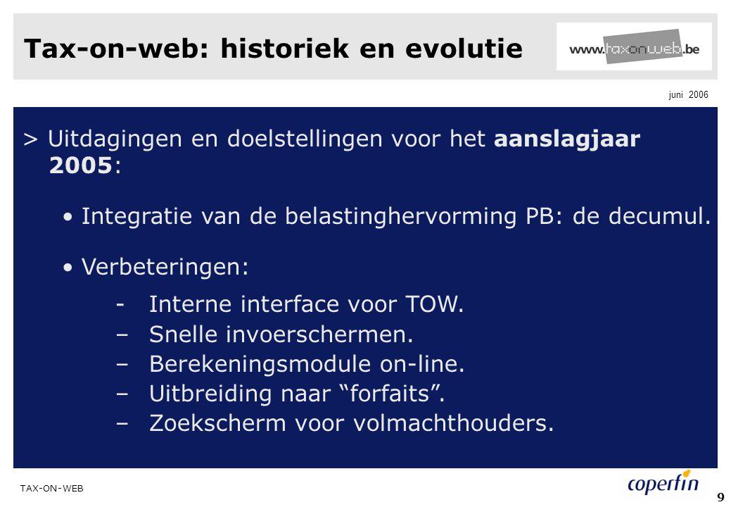 TAX-ON-WEB juni 2006 50 Toegang tot de TaxWorkBox >De onthaalpagina van Tax-on-web openen en klikken op 'toegang tot mijn TaxWorkBox'.