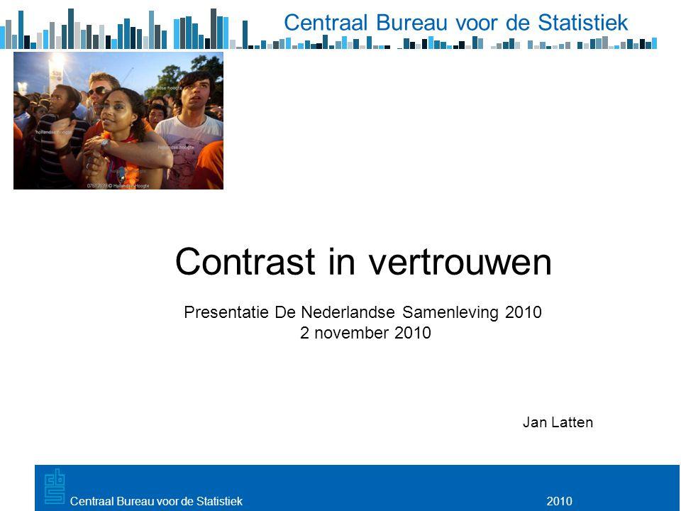 Utrecht, 20 februari 2009 2010Centraal Bureau voor de Statistiek Contrast in vertrouwen Presentatie De Nederlandse Samenleving 2010 2 november 2010 Jan Latten