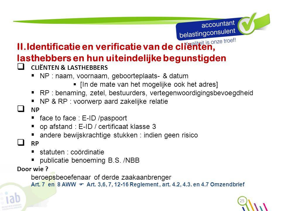 II.Identificatie en verificatie van de cliënten, lasthebbers en hun uiteindelijke begunstigden  CLIËNTEN & LASTHEBBERS  NP : naam, voornaam, geboort