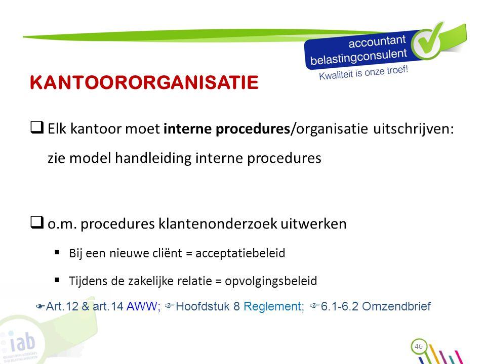 KANTOORORGANISATIE  Elk kantoor moet interne procedures/organisatie uitschrijven: zie model handleiding interne procedures  o.m. procedures klanteno