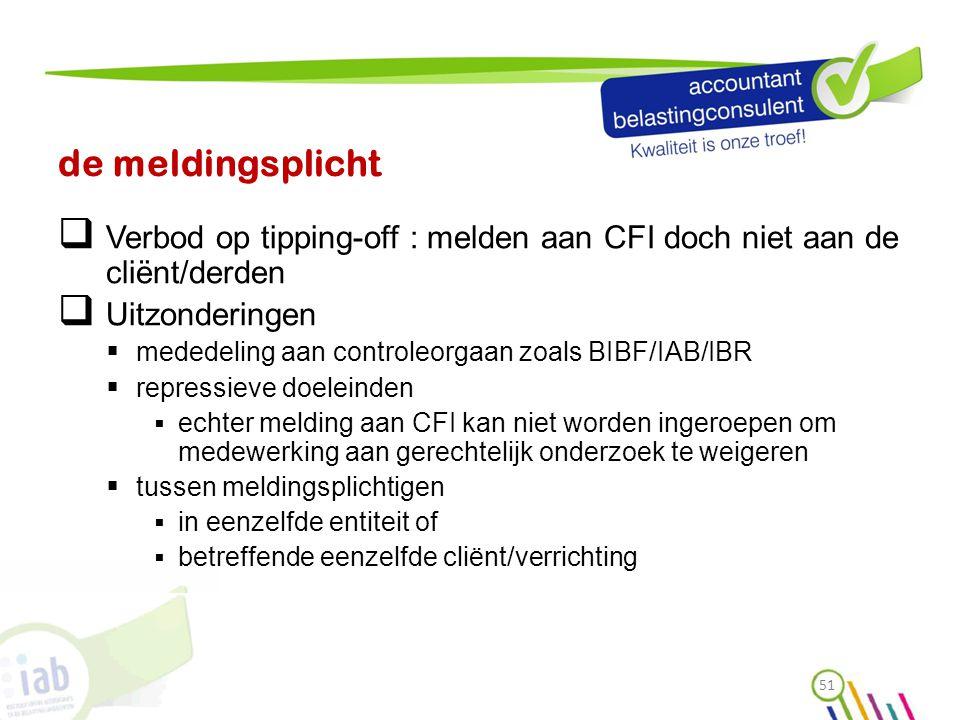 de meldingsplicht  Verbod op tipping-off : melden aan CFI doch niet aan de cliënt/derden  Uitzonderingen  mededeling aan controleorgaan zoals BIBF/