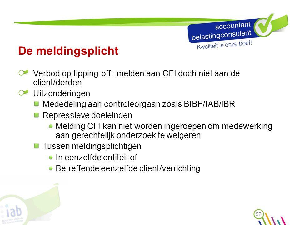 De meldingsplicht Verbod op tipping-off : melden aan CFI doch niet aan de cliënt/derden Uitzonderingen Mededeling aan controleorgaan zoals BIBF/IAB/IB