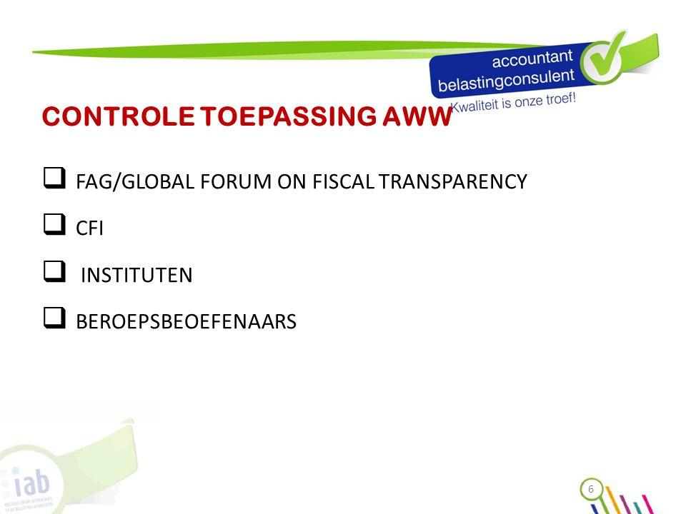 CONTROLE TOEPASSING AWW  FAG/GLOBAL FORUM ON FISCAL TRANSPARENCY  CFI  INSTITUTEN  BEROEPSBEOEFENAARS 6