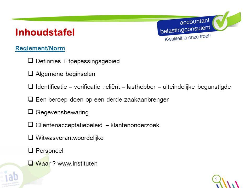 Inhoudstafel Reglement/Norm  Definities + toepassingsgebied  Algemene beginselen  Identificatie – verificatie : cliënt – lasthebber – uiteindelijke