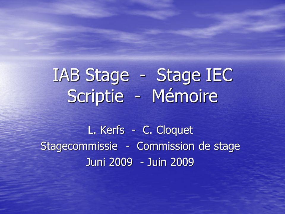 IAB Stage - Stage IEC Scriptie - Mémoire L. Kerfs - C.