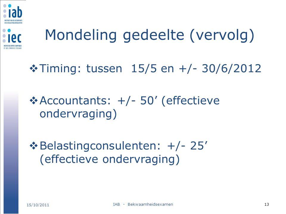 Mondeling gedeelte (vervolg)  Timing: tussen 15/5 en +/- 30/6/2012  Accountants: +/- 50' (effectieve ondervraging)  Belastingconsulenten: +/- 25' (