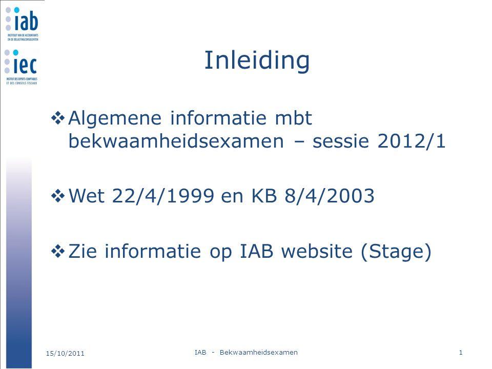 Inleiding  Algemene informatie mbt bekwaamheidsexamen – sessie 2012/1  Wet 22/4/1999 en KB 8/4/2003  Zie informatie op IAB website (Stage) 15/10/20