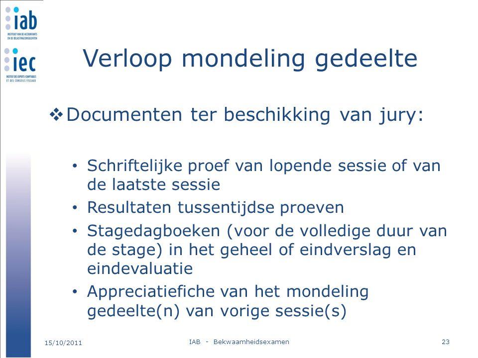 Verloop mondeling gedeelte  Documenten ter beschikking van jury: Schriftelijke proef van lopende sessie of van de laatste sessie Resultaten tussentij