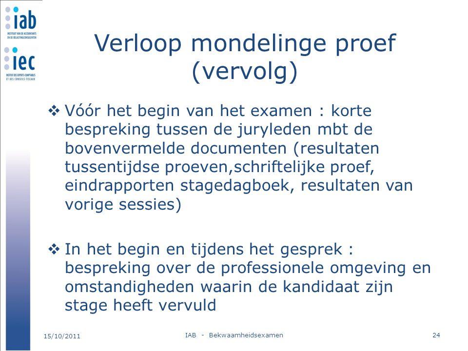 Verloop mondelinge proef (vervolg)  Vóór het begin van het examen : korte bespreking tussen de juryleden mbt de bovenvermelde documenten (resultaten