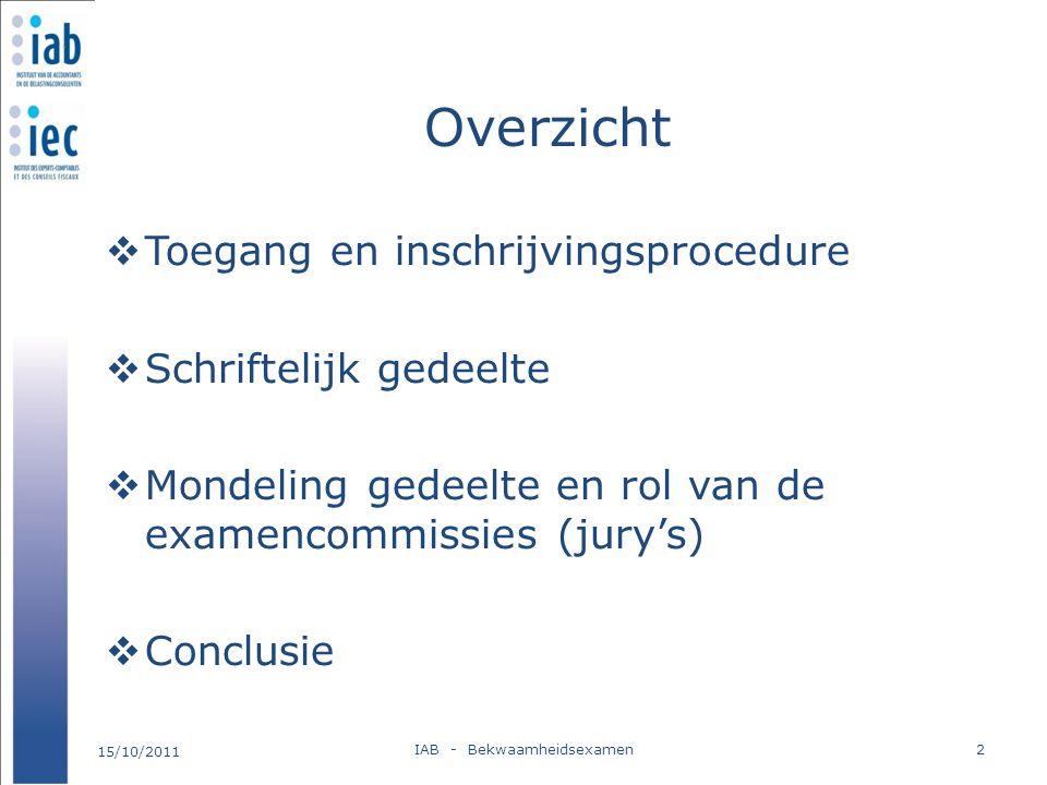 Overzicht  Toegang en inschrijvingsprocedure  Schriftelijk gedeelte  Mondeling gedeelte en rol van de examencommissies (jury's)  Conclusie 15/10/2