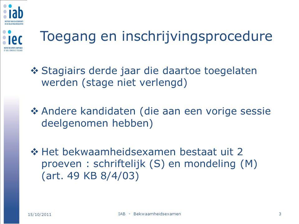 Toegang en inschrijvingsprocedure  Stagiairs derde jaar die daartoe toegelaten werden (stage niet verlengd)  Andere kandidaten (die aan een vorige s
