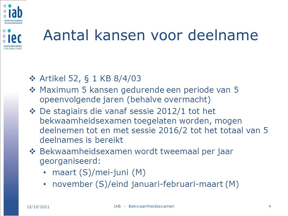 Aantal kansen voor deelname  Artikel 52, § 1 KB 8/4/03  Maximum 5 kansen gedurende een periode van 5 opeenvolgende jaren (behalve overmacht)  De st