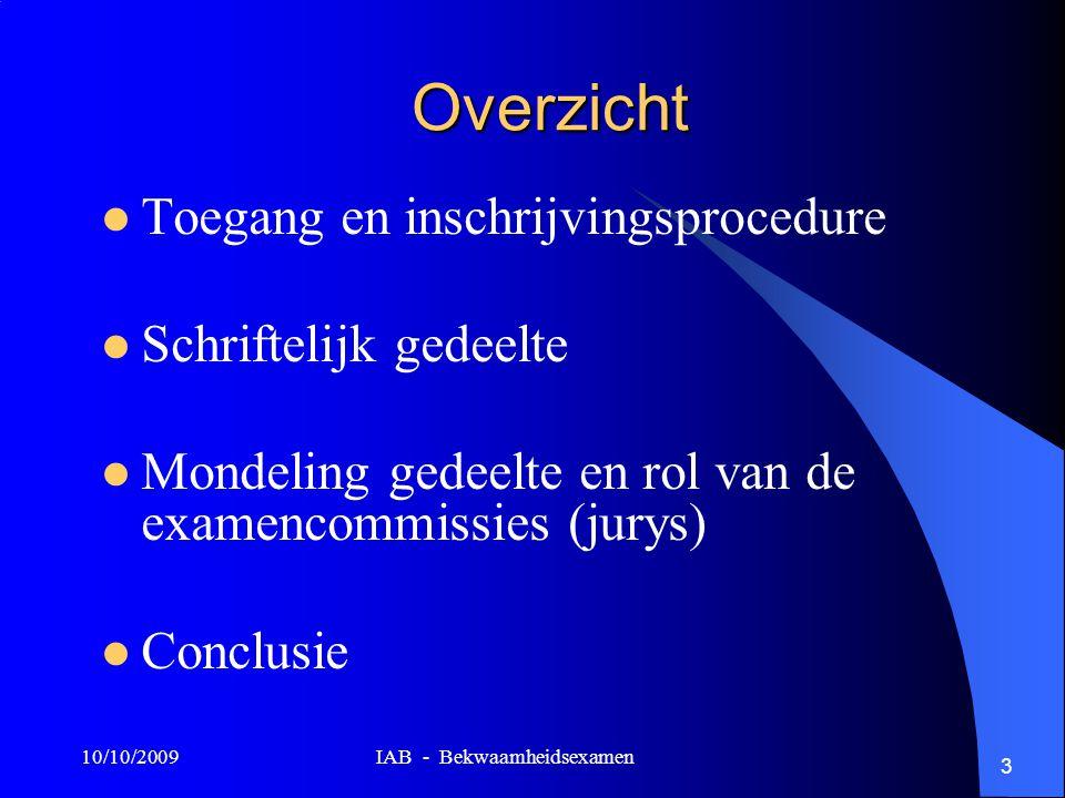 10/10/2009 IAB - Bekwaamheidsexamen 3 Overzicht Toegang en inschrijvingsprocedure Schriftelijk gedeelte Mondeling gedeelte en rol van de examencommissies (jurys) Conclusie
