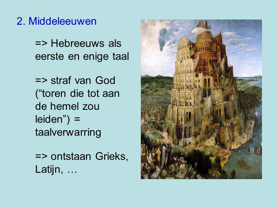 """2. Middeleeuwen => Hebreeuws als eerste en enige taal => straf van God (""""toren die tot aan de hemel zou leiden"""") = taalverwarring => ontstaan Grieks,"""