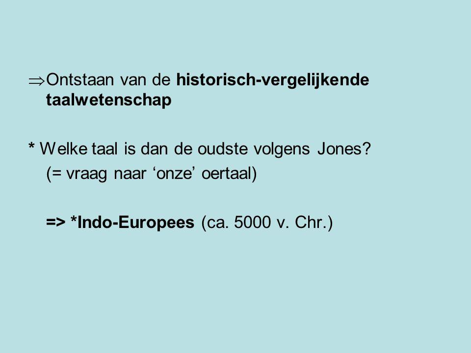  Ontstaan van de historisch-vergelijkende taalwetenschap * Welke taal is dan de oudste volgens Jones.