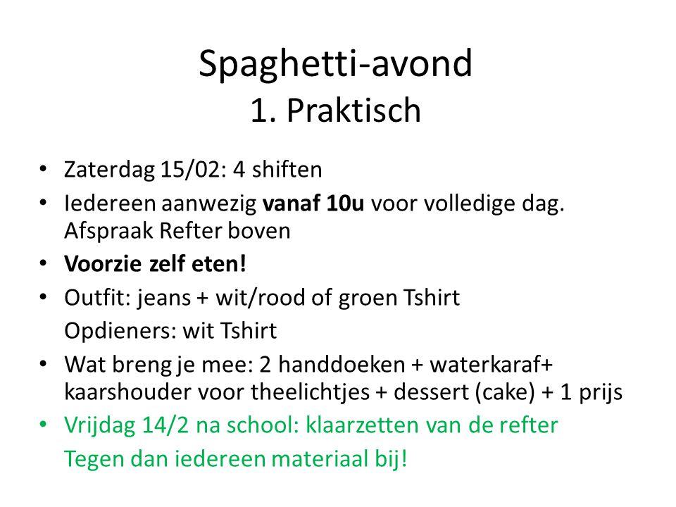 Spaghetti-avond 1. Praktisch Zaterdag 15/02: 4 shiften Iedereen aanwezig vanaf 10u voor volledige dag. Afspraak Refter boven Voorzie zelf eten! Outfit