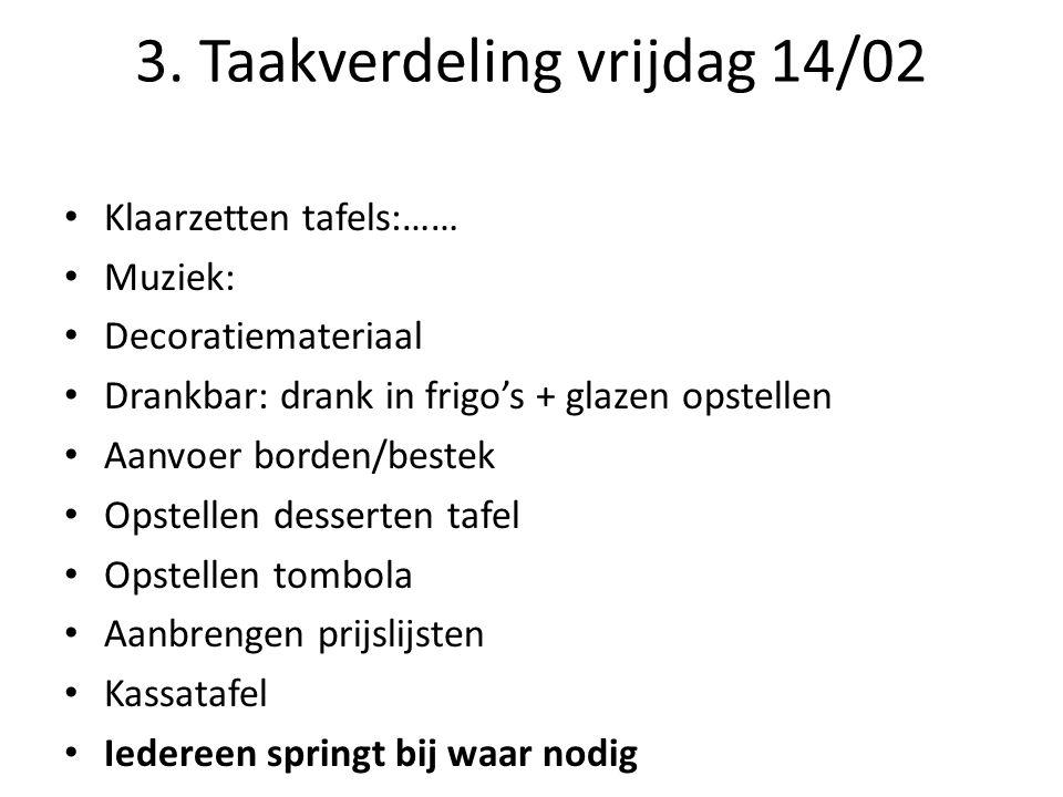 3. Taakverdeling vrijdag 14/02 Klaarzetten tafels:…… Muziek: Decoratiemateriaal Drankbar: drank in frigo's + glazen opstellen Aanvoer borden/bestek Op