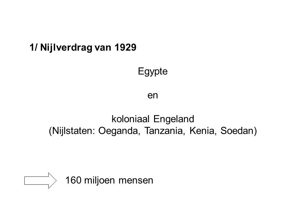 1/ Nijlverdrag van 1929 Egypte en koloniaal Engeland (Nijlstaten: Oeganda, Tanzania, Kenia, Soedan) 160 miljoen mensen