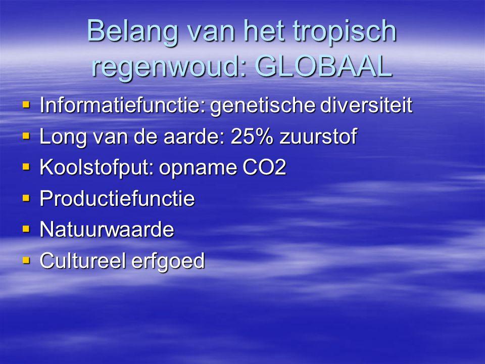 Belang van het tropisch regenwoud: GLOBAAL  Informatiefunctie: genetische diversiteit  Long van de aarde: 25% zuurstof  Koolstofput: opname CO2  P