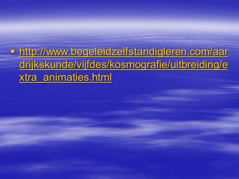  http://www.begeleidzelfstandigleren.com/aar drijkskunde/vijfdes/kosmografie/uitbreiding/e xtra_animaties.html http://www.begeleidzelfstandigleren.co