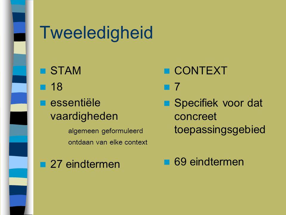 Tweeledigheid STAM 18 essentiële vaardigheden algemeen geformuleerd ontdaan van elke context 27 eindtermen CONTEXT 7 Specifiek voor dat concreet toepa