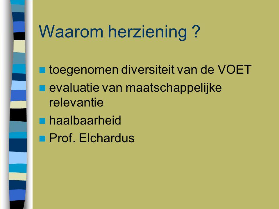 Waarom herziening ? toegenomen diversiteit van de VOET evaluatie van maatschappelijke relevantie haalbaarheid Prof. Elchardus