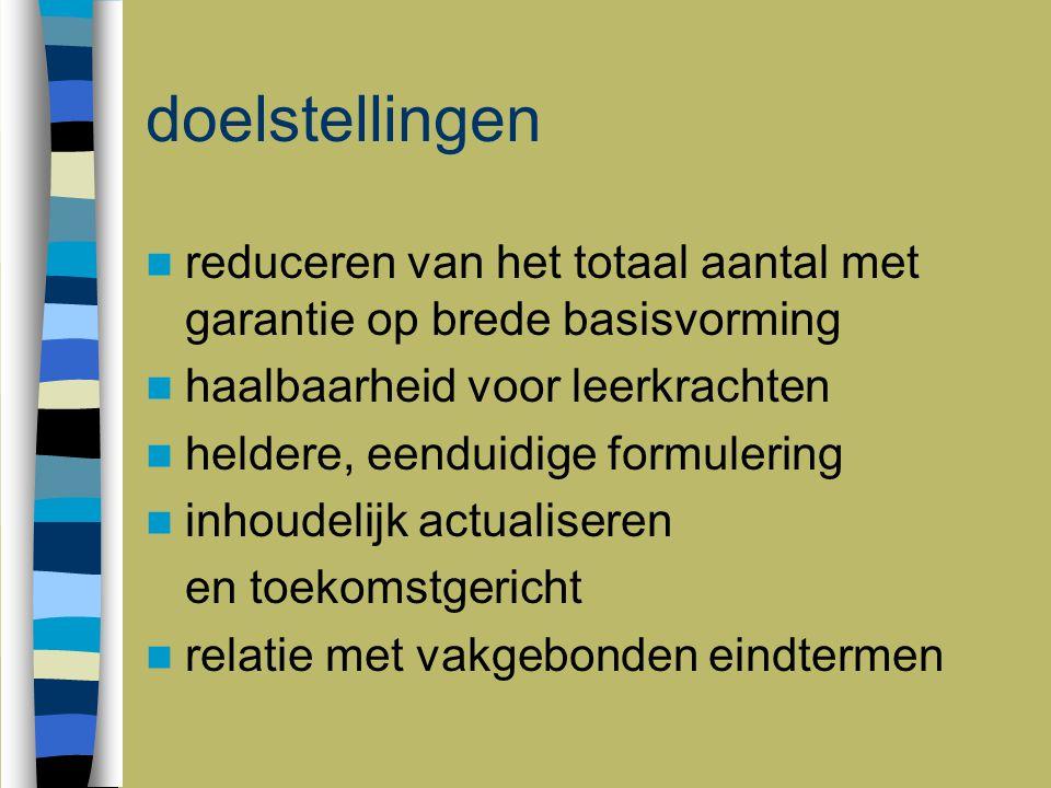 Visie: basisvorming Decreet (1996): inhoudelijk gedefinieerd: vanuit maatschappelijk perspectief en vanuit perspectief op persoonlijke ontwikkeling Europese Unie (2006): kerncompetenties voor levenslang leren UITGANGSVRAAG: welke minimumcapaciteiten heeft een burger in Vlaanderen nodig om kritisch- creatief te functioneren in de samenleving en voor de uitbouw van een persoonlijk leven?