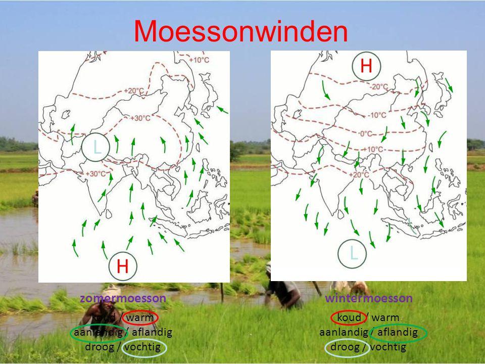 L H L H zomermoesson koud / warm aanlandig / aflandig droog / vochtig wintermoesson koud / warm aanlandig / aflandig droog / vochtig Moessonwinden