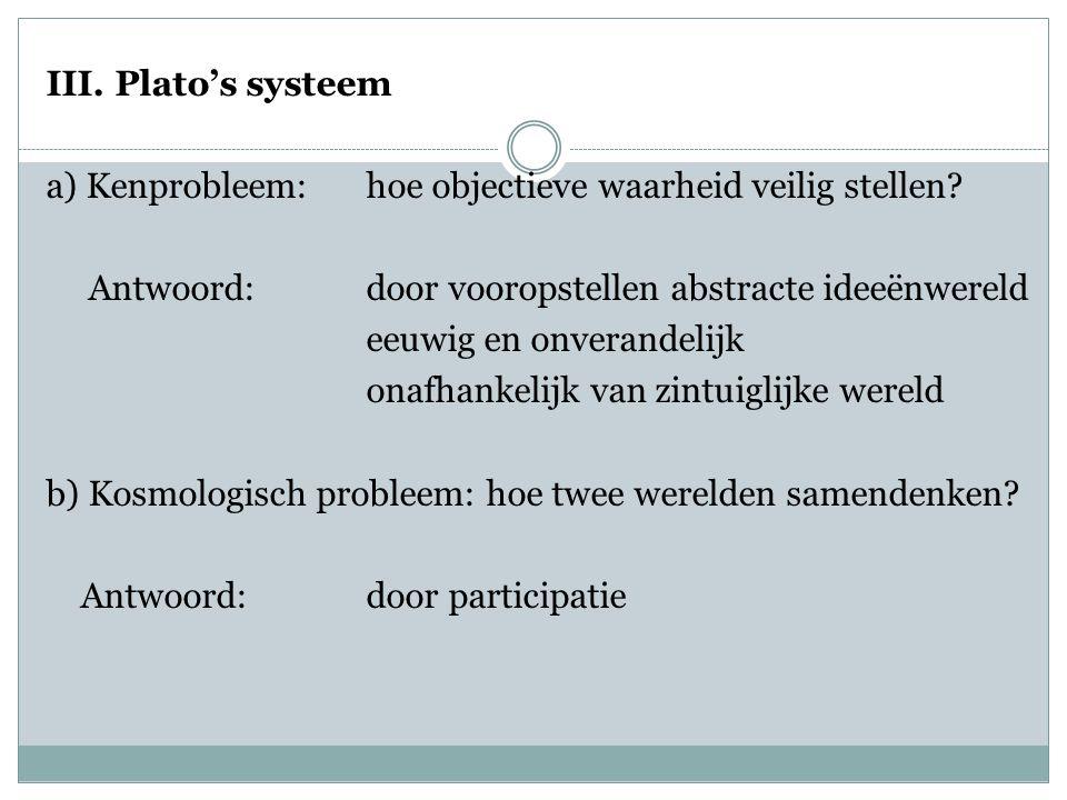 III.Plato's systeem a) Kenprobleem: hoe objectieve waarheid veilig stellen.