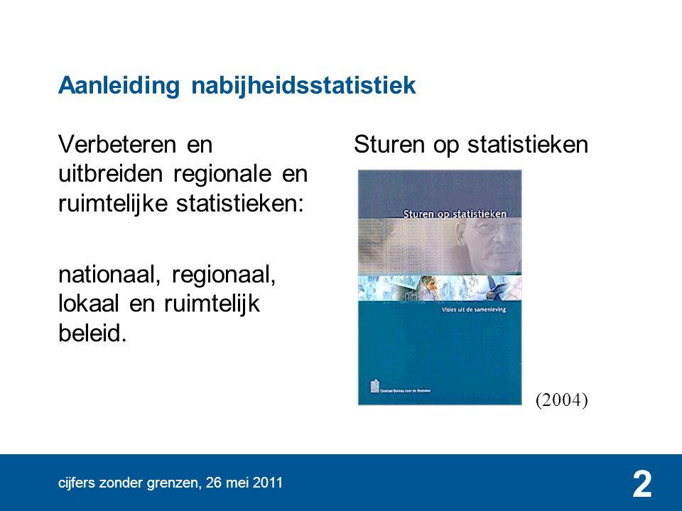 cijfers zonder grenzen, 26 mei 2011 3 Aanleiding nabijheidsstatistiek Verbeteren en uitbreiden regionale en ruimtelijke statistieken: nationaal, regionaal, lokaal en ruimtelijk beleid.