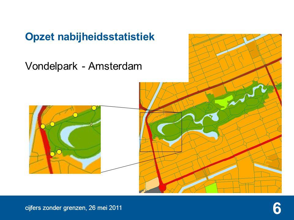 cijfers zonder grenzen, 26 mei 2011 6 Vondelpark - Amsterdam Opzet nabijheidsstatistiek