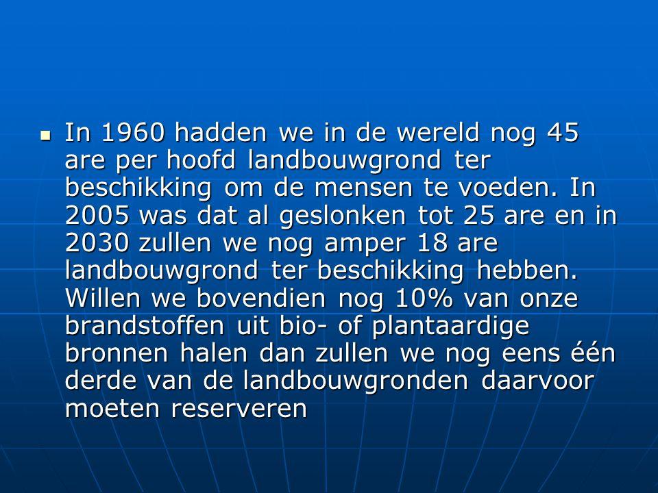 In 1960 hadden we in de wereld nog 45 are per hoofd landbouwgrond ter beschikking om de mensen te voeden.