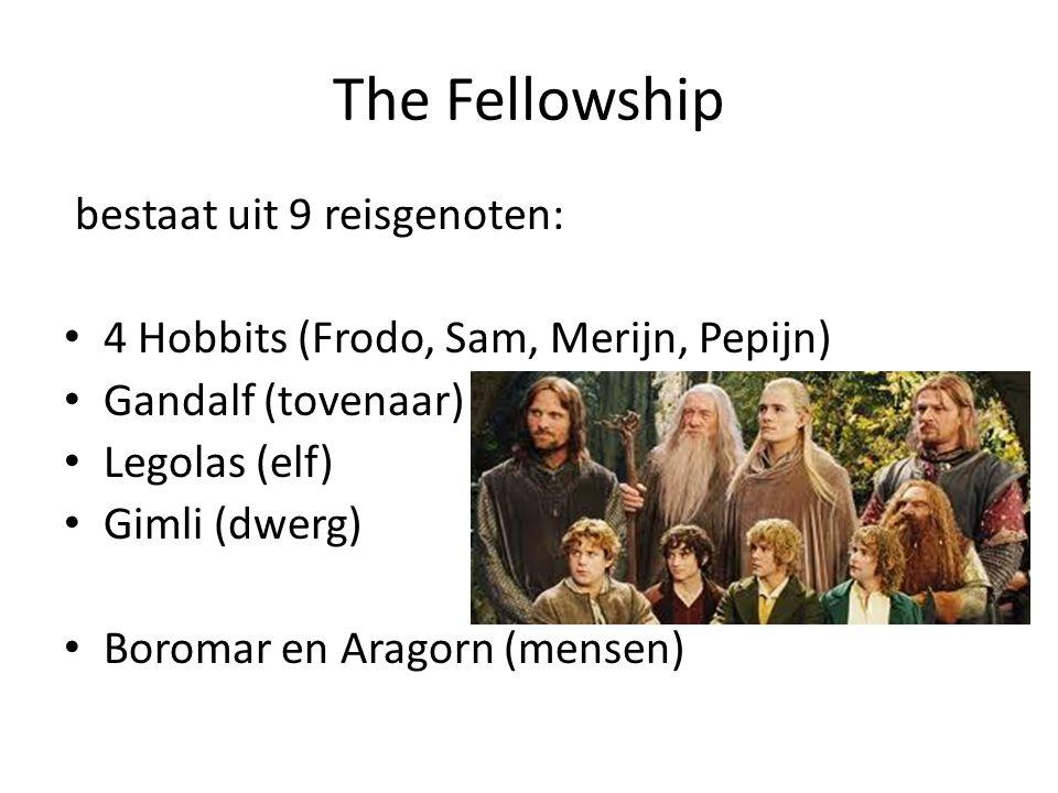 The Fellowship bestaat uit 9 reisgenoten: 4 Hobbits (Frodo, Sam, Merijn, Pepijn) Gandalf (tovenaar) Legolas (elf) Gimli (dwerg) Boromar en Aragorn (me