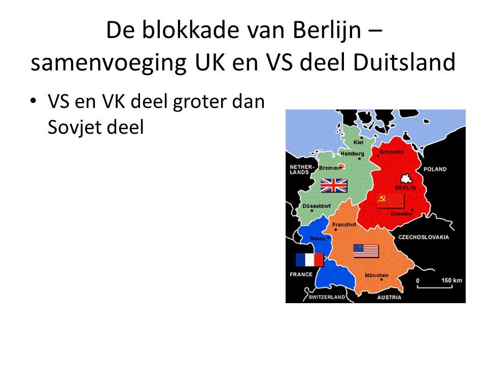 De blokkade van Berlijn – samenvoeging UK en VS deel Duitsland VS en VK deel groter dan Sovjet deel