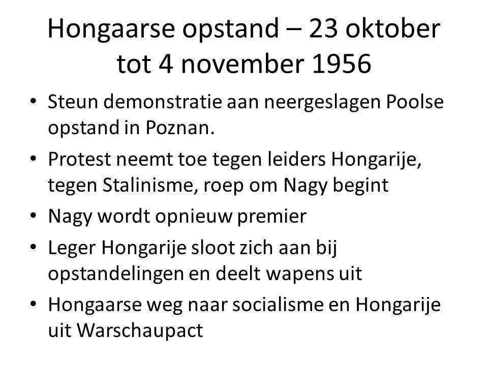 Hongaarse opstand – 23 oktober tot 4 november 1956 Steun demonstratie aan neergeslagen Poolse opstand in Poznan. Protest neemt toe tegen leiders Honga