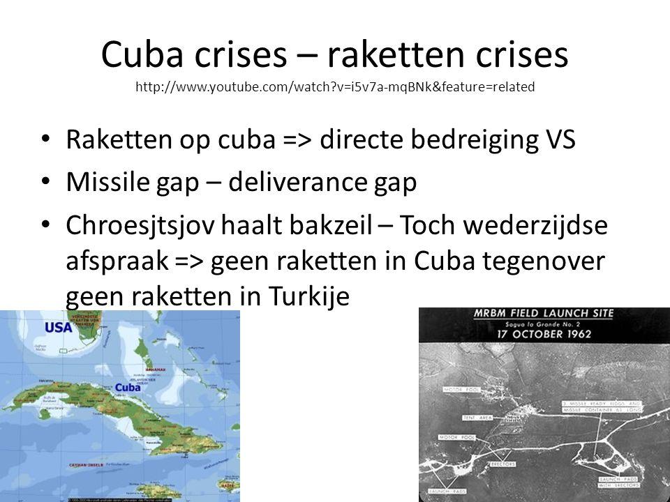 Cuba crises – raketten crises http://www.youtube.com/watch?v=i5v7a-mqBNk&feature=related Raketten op cuba => directe bedreiging VS Missile gap – deliverance gap Chroesjtsjov haalt bakzeil – Toch wederzijdse afspraak => geen raketten in Cuba tegenover geen raketten in Turkije