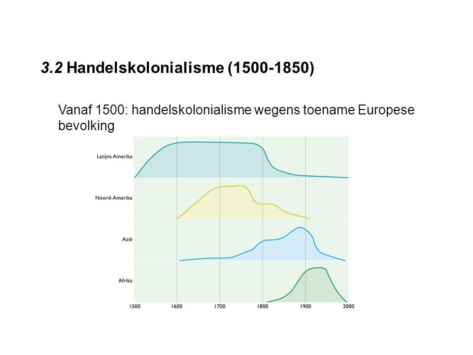 3.2 Handelskolonialisme (1500-1850) Vanaf 1500: handelskolonialisme wegens toename Europese bevolking