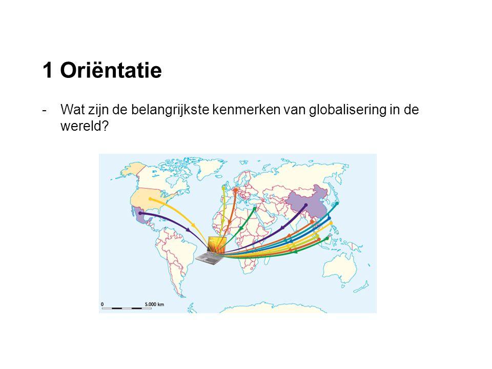 1 Oriëntatie -Wat zijn de belangrijkste kenmerken van globalisering in de wereld?