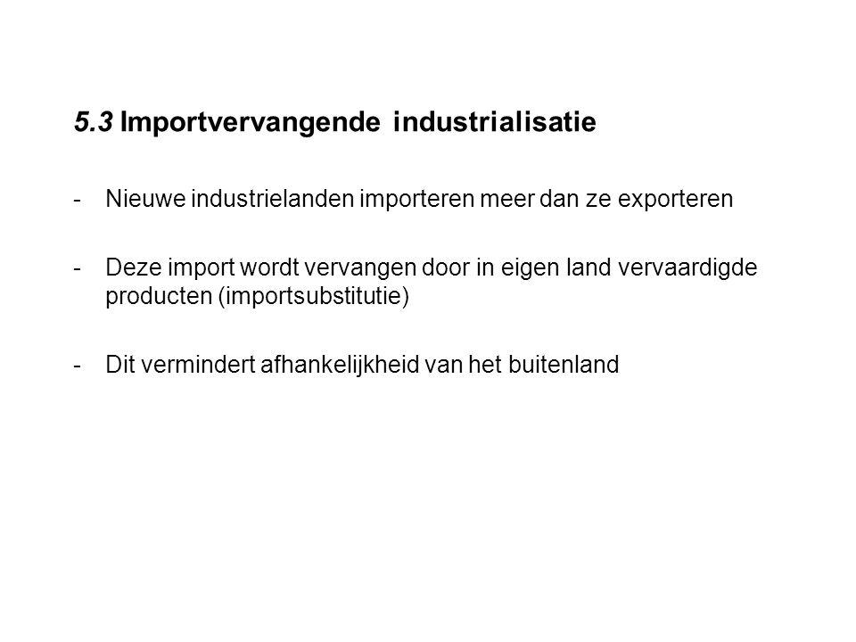 5.3 Importvervangende industrialisatie -Nieuwe industrielanden importeren meer dan ze exporteren -Deze import wordt vervangen door in eigen land verva