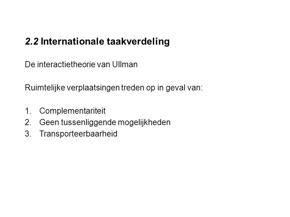 2.2 Internationale taakverdeling De interactietheorie van Ullman Ruimtelijke verplaatsingen treden op in geval van: 1.Complementariteit 2.Geen tussenl