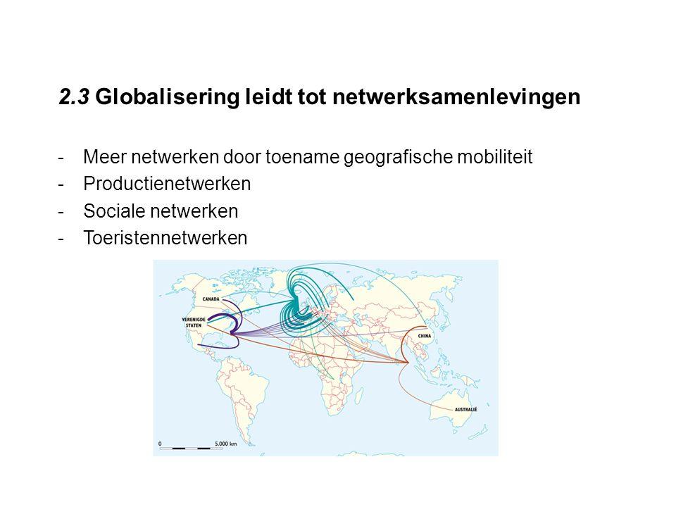 2.3 Globalisering leidt tot netwerksamenlevingen -Meer netwerken door toename geografische mobiliteit -Productienetwerken -Sociale netwerken -Toeriste