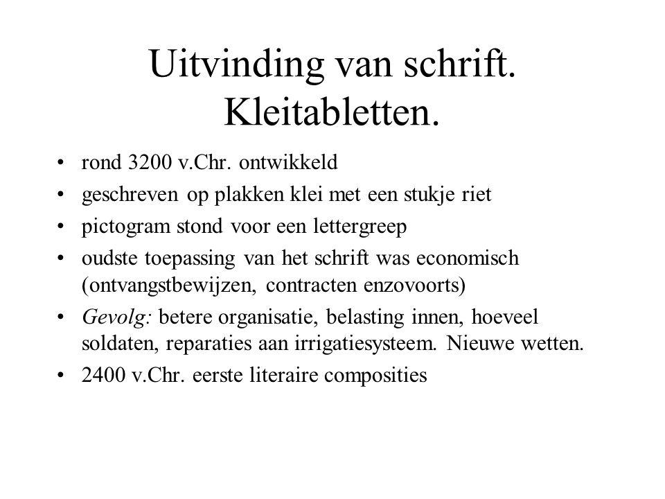 Uitvinding van schrift.Kleitabletten. rond 3200 v.Chr.