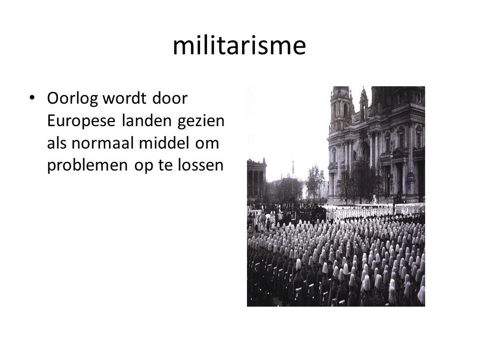 militarisme Oorlog wordt door Europese landen gezien als normaal middel om problemen op te lossen