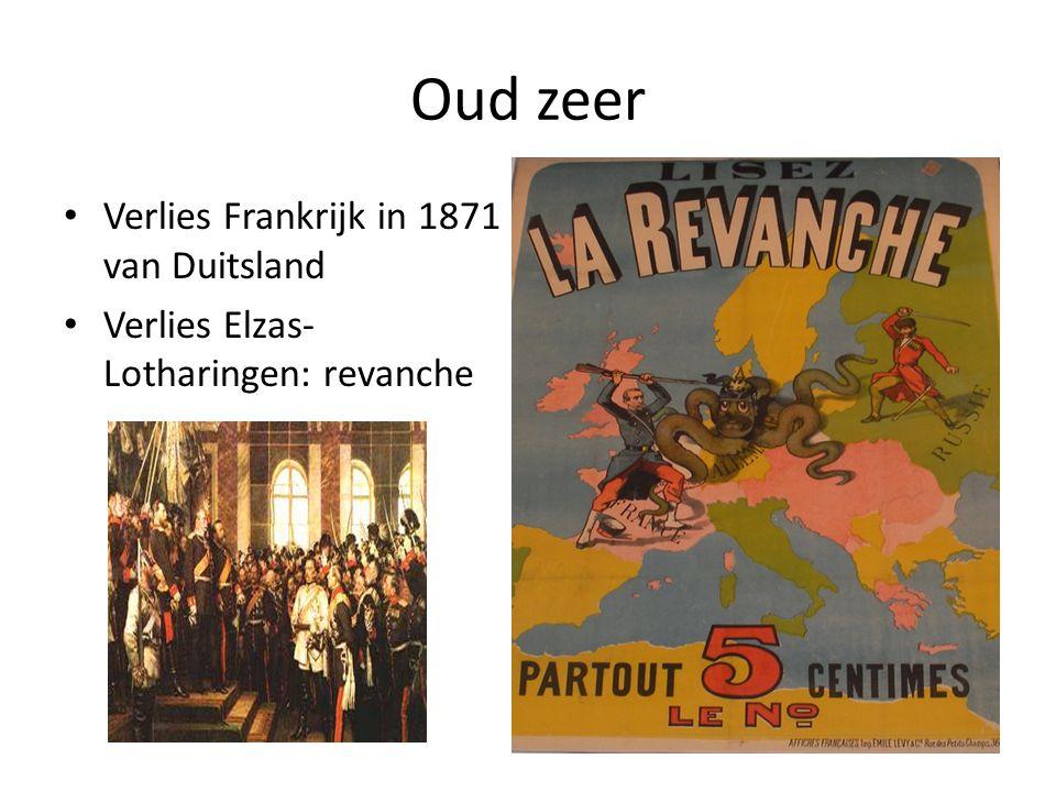 Oud zeer Verlies Frankrijk in 1871 van Duitsland Verlies Elzas- Lotharingen: revanche