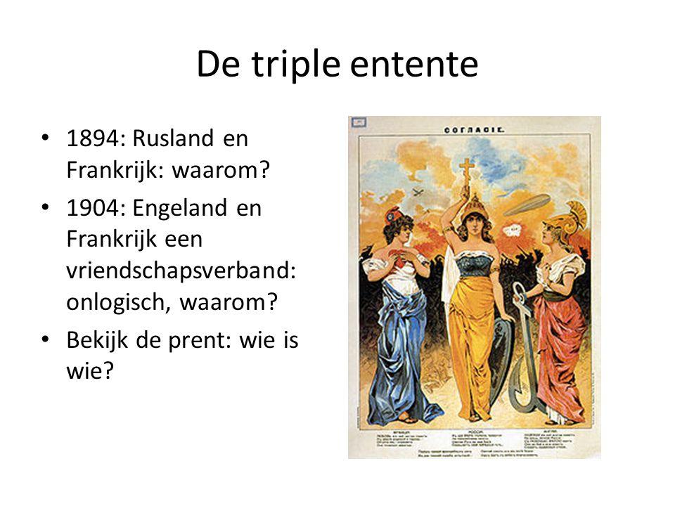 De triple entente 1894: Rusland en Frankrijk: waarom? 1904: Engeland en Frankrijk een vriendschapsverband: onlogisch, waarom? Bekijk de prent: wie is