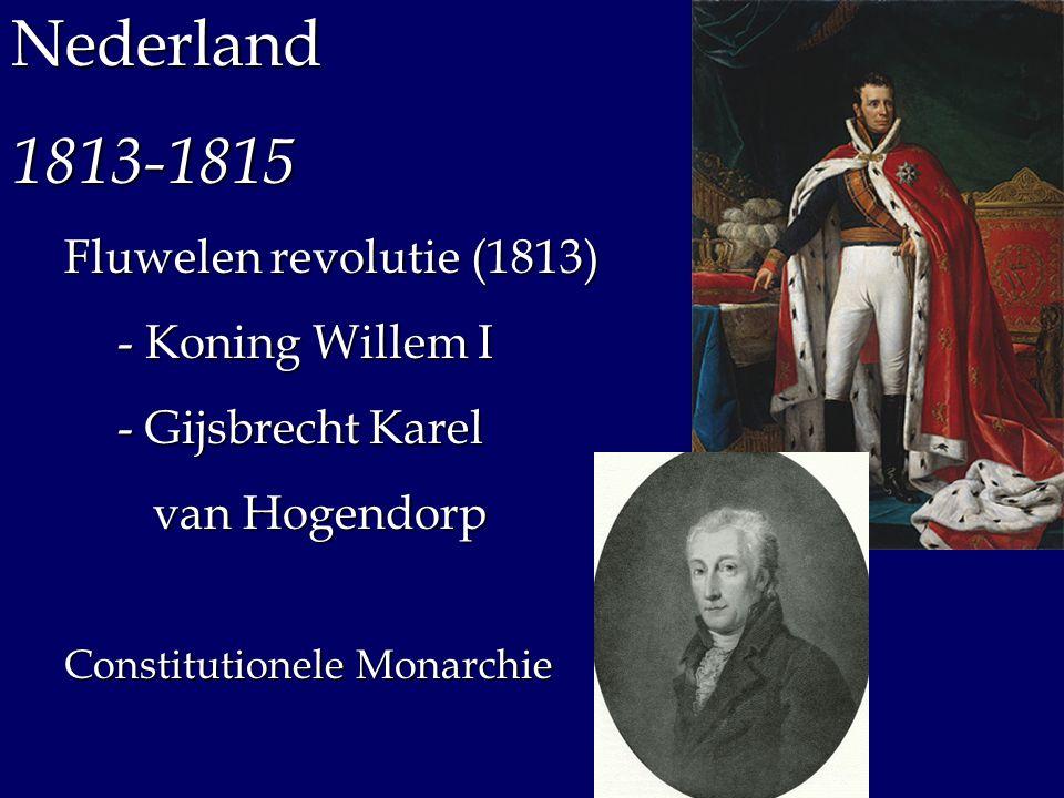 besturen kiezen benoemt Koning (Willem I) Staten Generaal Eerste KamerTweede Kamer Provinciale Staten Ministers Volk benoemt kan ontbinden Staatsinrichting 1814