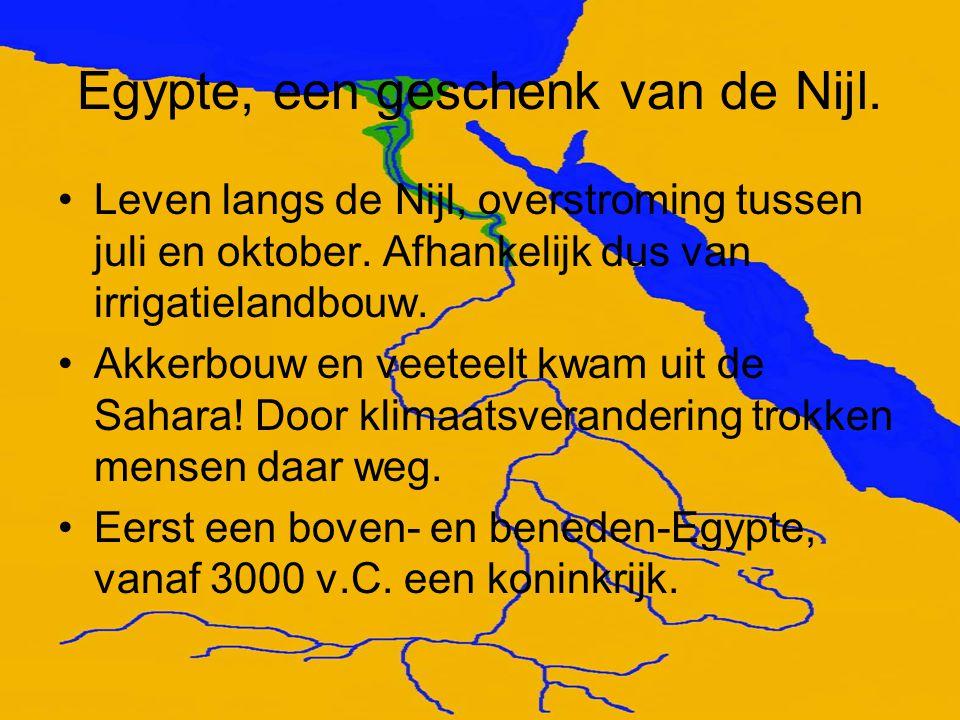 Egypte, een geschenk van de Nijl. Leven langs de Nijl, overstroming tussen juli en oktober. Afhankelijk dus van irrigatielandbouw. Akkerbouw en veetee