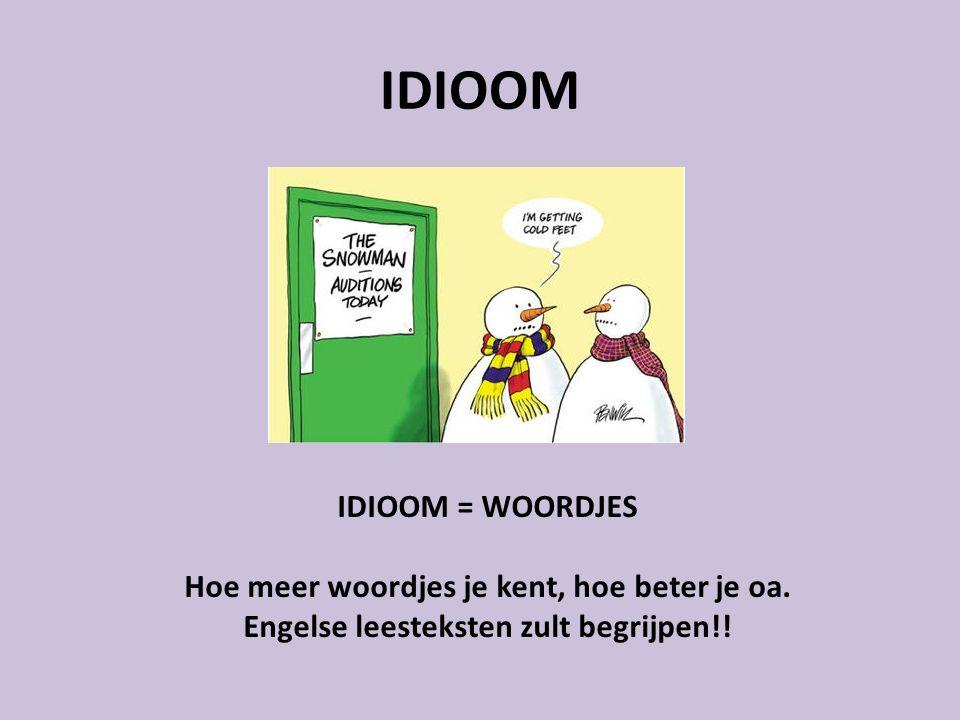 IDIOOM IDIOOM = WOORDJES Hoe meer woordjes je kent, hoe beter je oa. Engelse leesteksten zult begrijpen!!